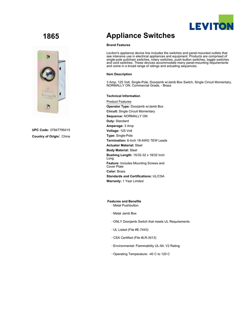 Spec Sheet Commercial Single Pole Toggle Switch