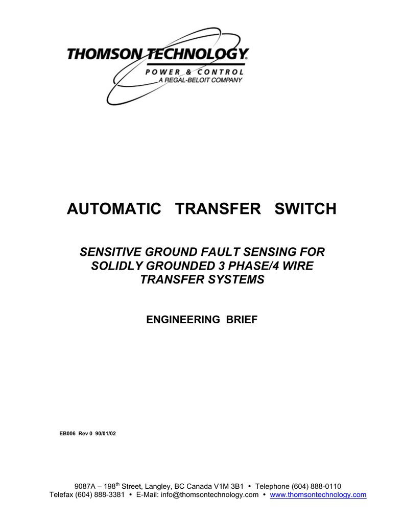 Sensitive Ground Fault For 3 Phase 4 Wire Systems Brief Automatic Transfer Switch On Wiring