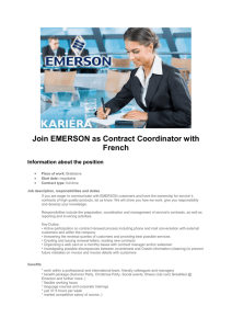 Join EMERSON as Contract Coordinator with French