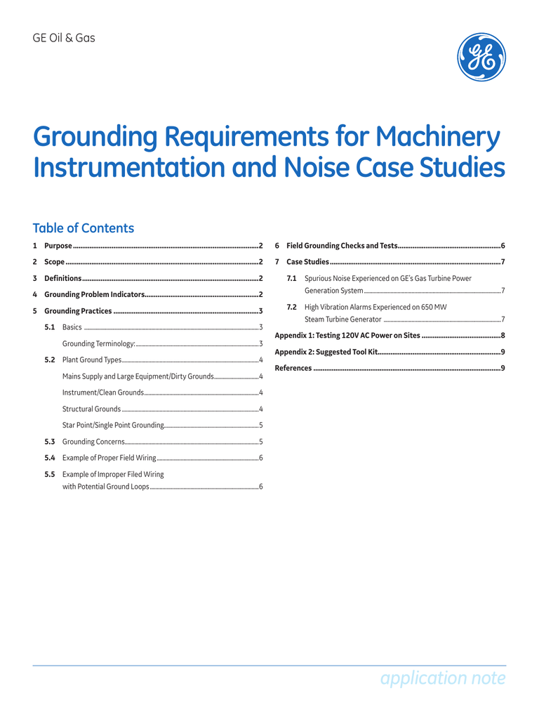 Grounding Requirements for Machinery Instrumentation and Noise