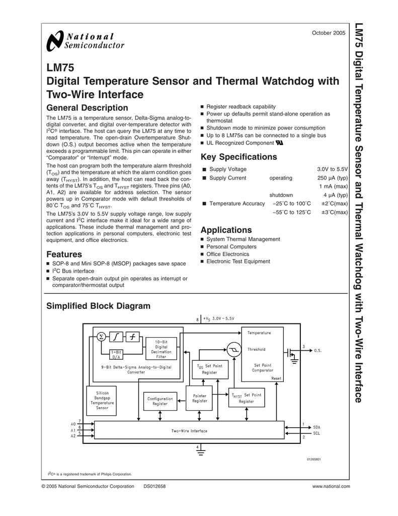 Lm75 Digital Temperature Sensor And Thermal Watchdog Timer The Common Clock Is Characteristic Of Basic