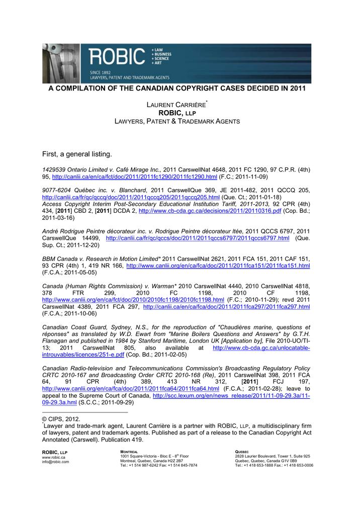 Ville Montréal Qc Ca Payer Constat >> A Compilation Of The Canadian Copyright Cases