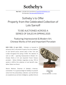 Sotheby`s to Offer Property from the Celebrated Collection of Lolo