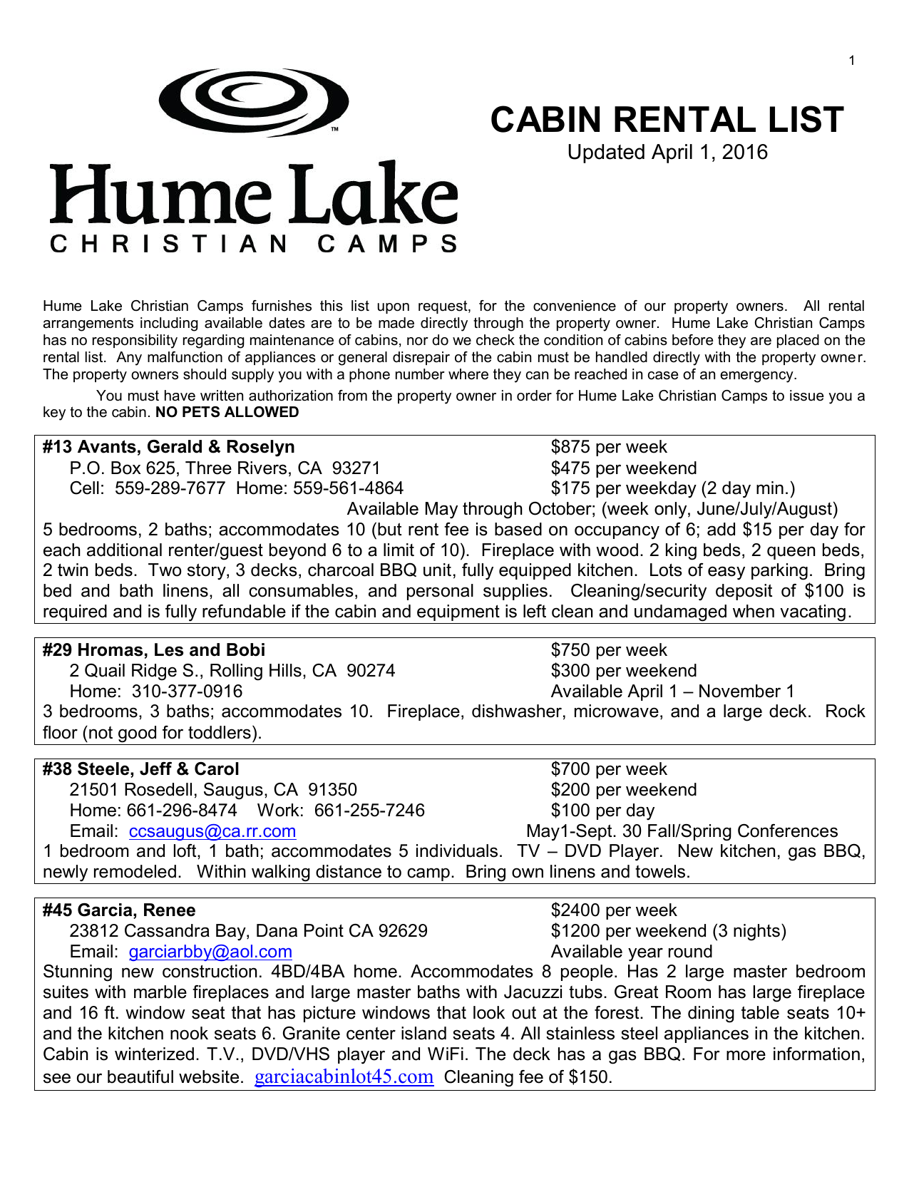 cabin rental list - Hume Christian Camps