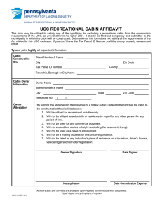 Recreational Cabin Affidavit - Pennsylvania Construction Codes