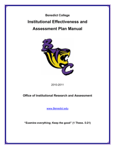Institutional Effectiveness and Assessment Plan