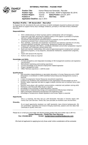 Human Resources Generalist - Recruiter Position Type