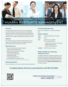 human resource management - California State University San Marcos