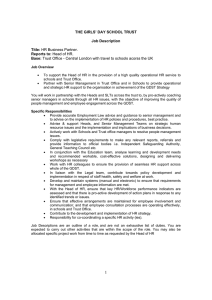 THE GIRLS` DAY SCHOOL TRUST Job Description Title: HR