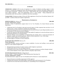TEC RESUME A SUMMARY Administrative Assistant with ten years