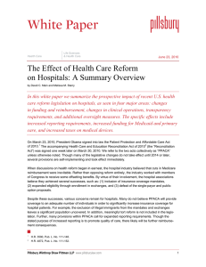 The Effect of Health Care Reform on Hospitals: A Summary Overview