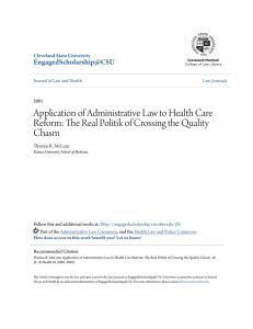 Application of Administrative Law to Health Care Reform: The Real