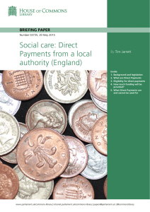 Social care: Direct Payments from a local authority