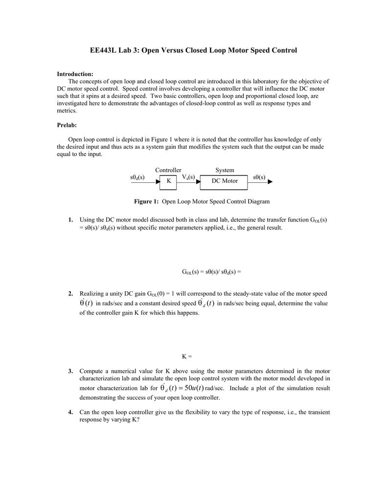 EE443L Lab 3: Open Versus Closed Loop Motor Speed Control )(t θx