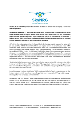 SkyNRG, KLM and AltAir prove that sustainable jet fuels are here to