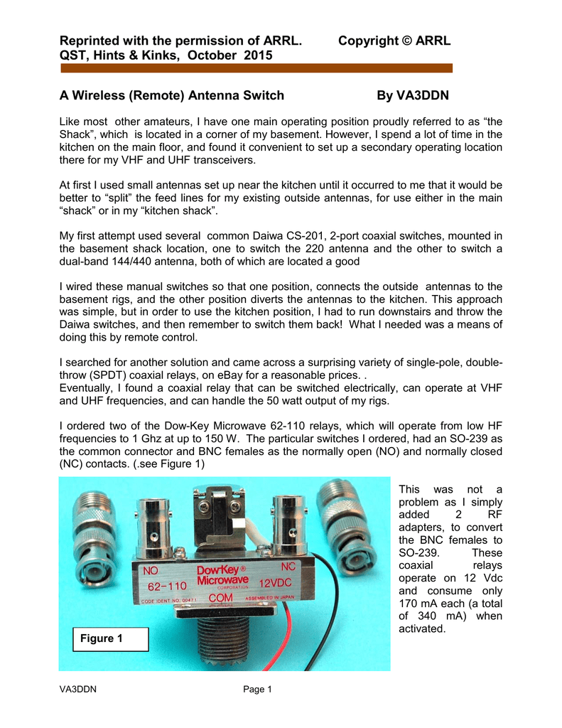 A Remote Coaxial Antenna Switch, for the Hamshack