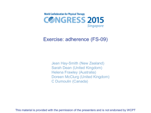 Exercise adherence - World Confederation for Physical Therapy