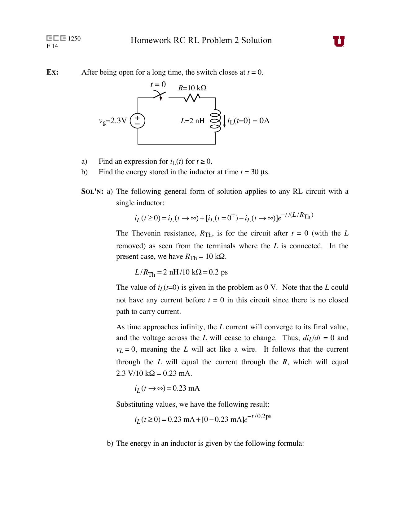 homework rc rl problem 2 solution rh studylib net