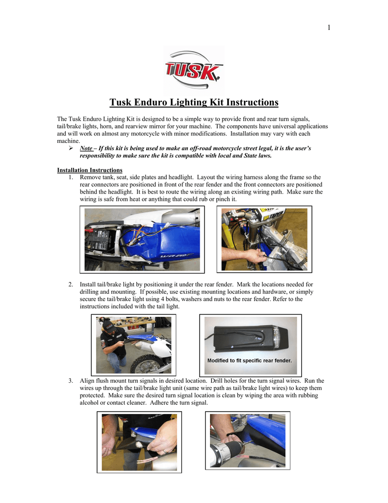 tusk enduro lighting kit instructions Tusk Dual Sport Wiring Diagram
