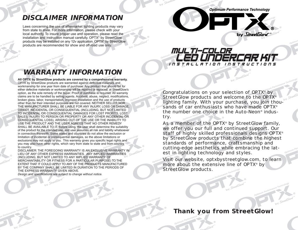 Optx Multi Color Led Undercar Kit Mlc Light Controller Wiring Diagram