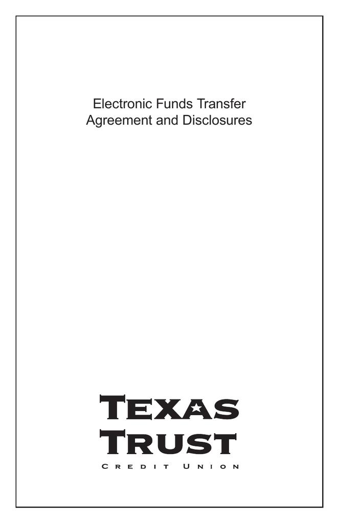 Eft Agreement Texas Trust Credit Union