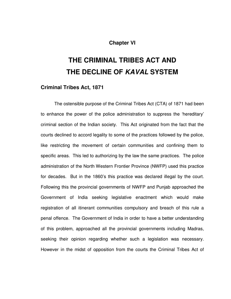 the criminal tribes act and the decline of kaval system