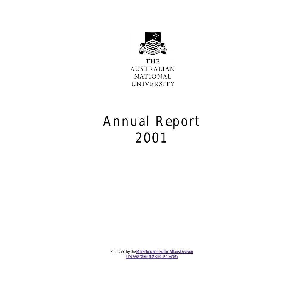 Annual Report 2001 Australian National University Cotton Bud Refill Isi 80 Kode 188