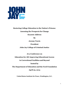 Restoring College Education to the Nation`s Prisons