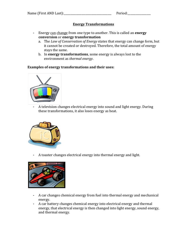 Energy Transformations Student Worksheet