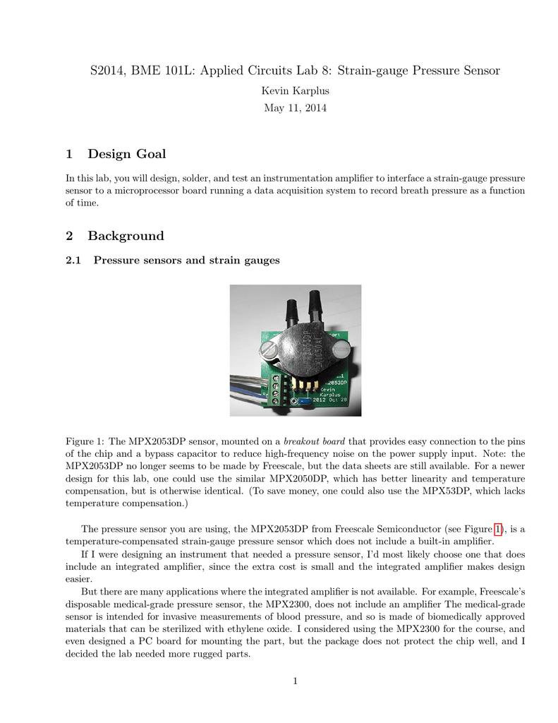 Pressure Sensors And Instrumentation Amplifiers Amplifier Circuit Diagram