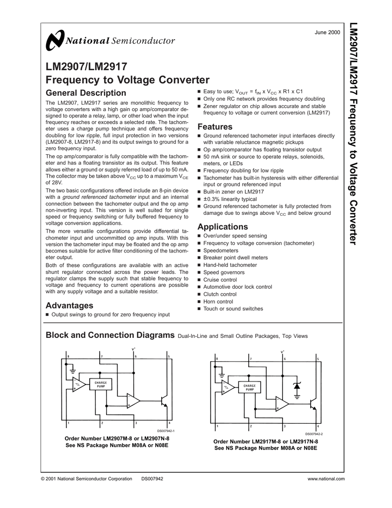 Lm2907 Lm2917 Frequency To Voltage Converter Reed Switch Controls Operational Amplifier Circuit Diagram