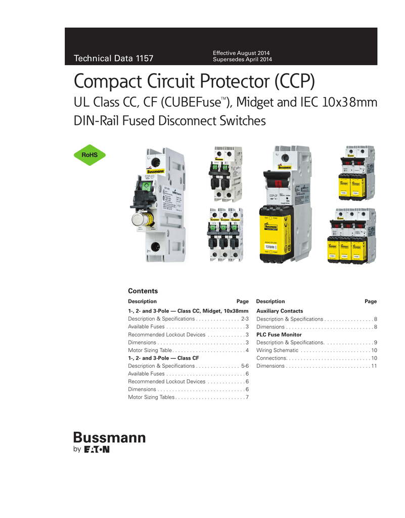 Bussmann Compact Circuit Protector Ccp Data Sheet 1157 Iec Fuse With Switch Wiring Diagram