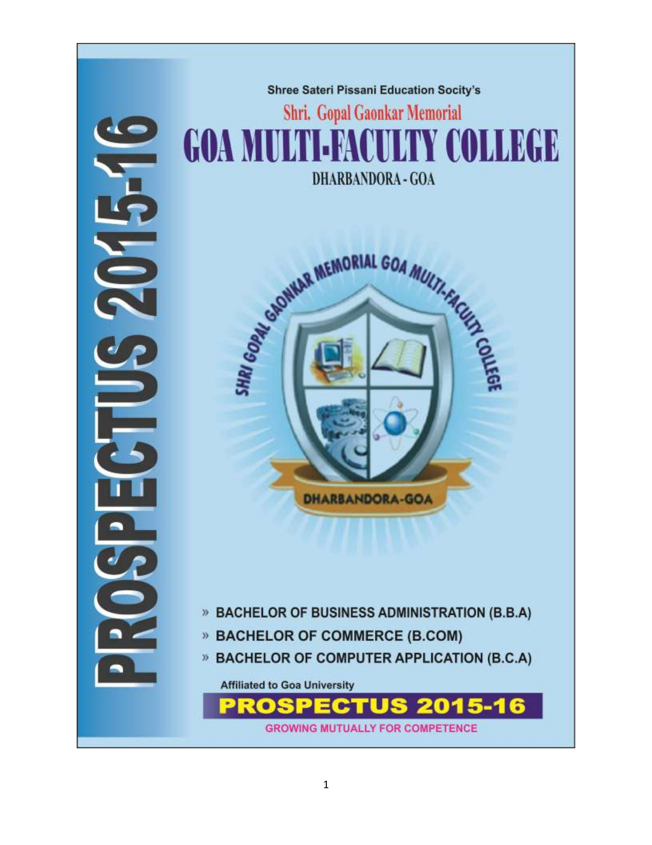 college prospectus 2015-2016 - Goa Multi Faculty College