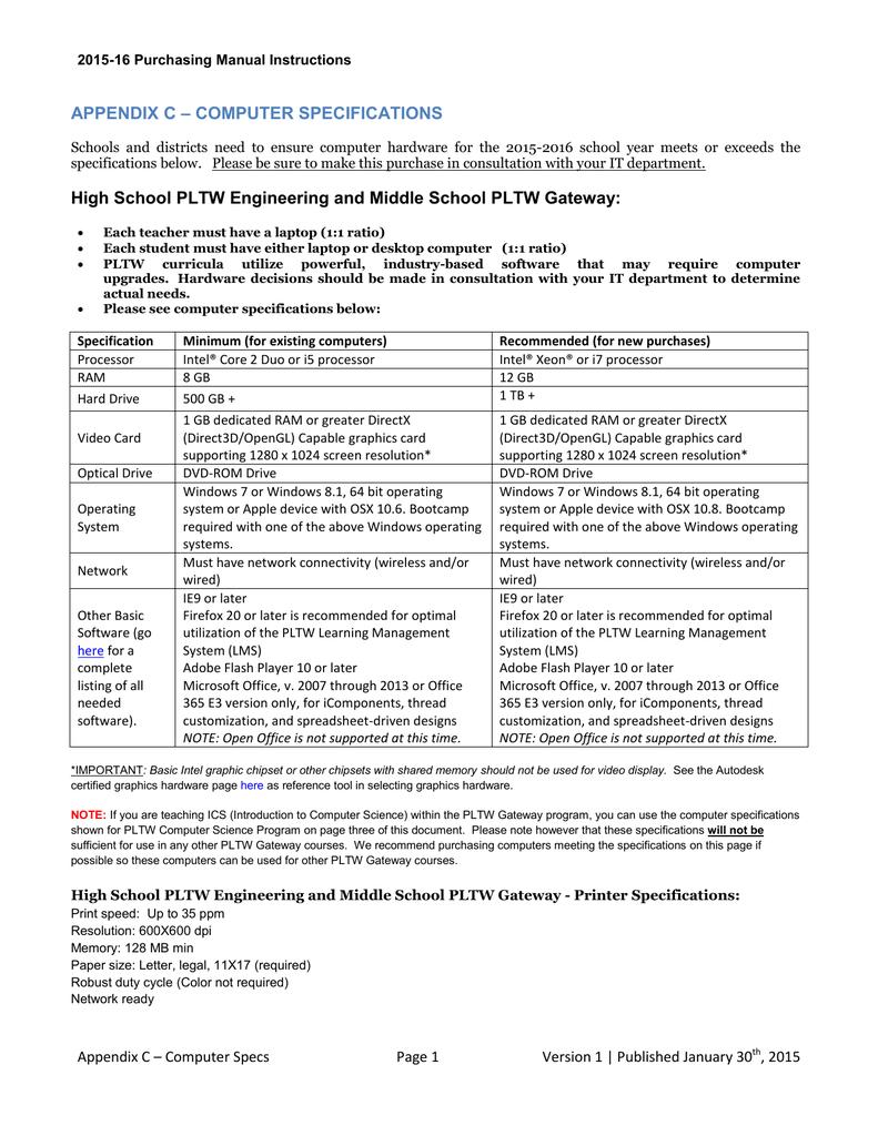 appendix c computer specifications high school pltw rh studylib net Food Purchasing Manual Purchasing Procedures Manual