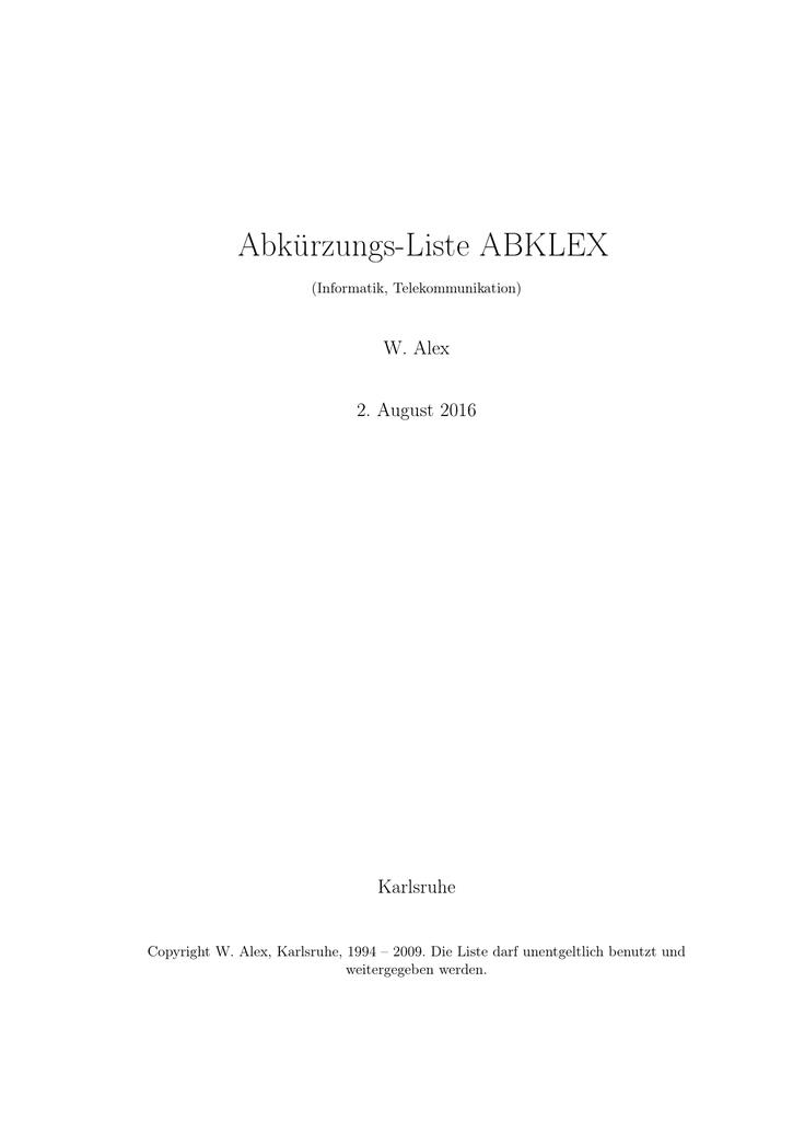 Abkürzungs-Liste ABKLEX - Familie Alex, Weingarten