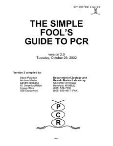 the simple fool`s guide to pcr