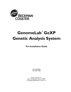 GenomeLab GeXP Genetic Analysis System Pre