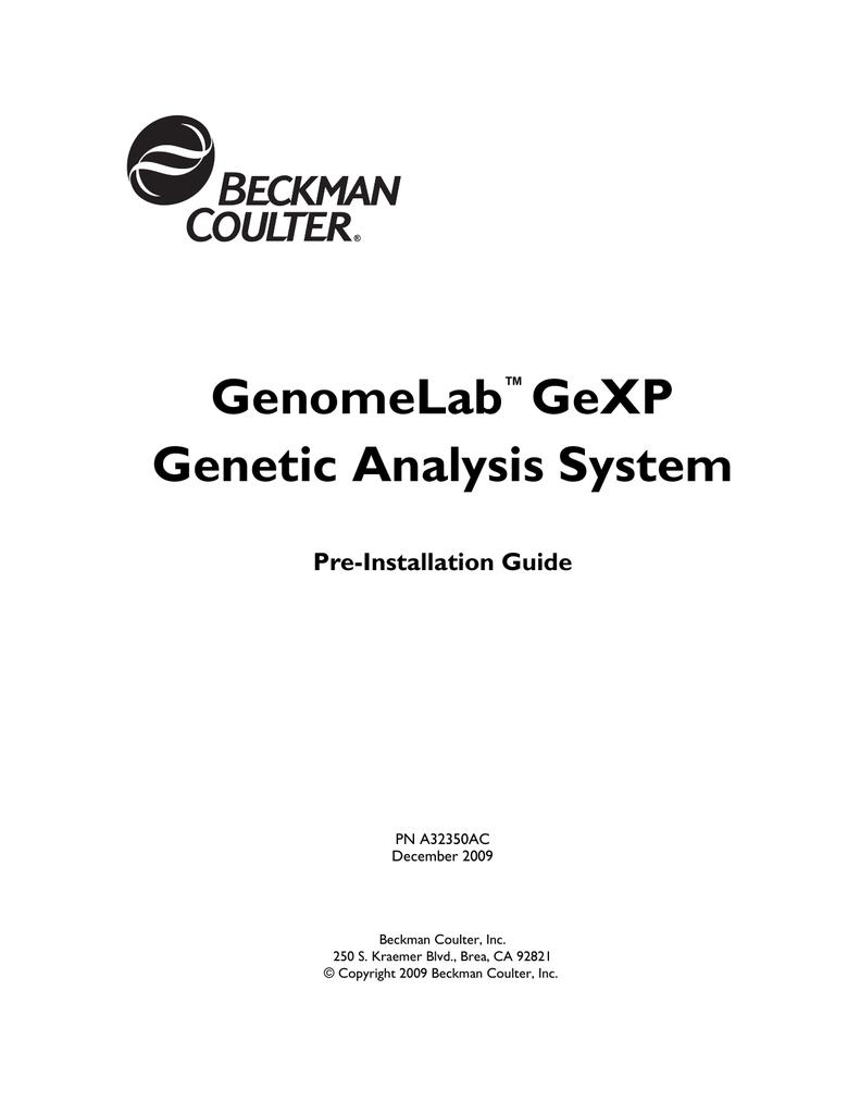 GenomeLab GeXP Genetic Analysis System Pre