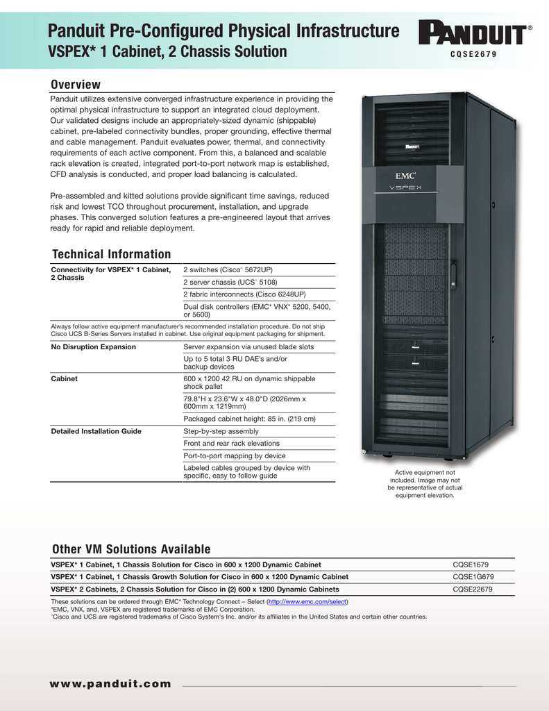VSPEX CQSE2679 1 Cabinet 2 Chassis Solution