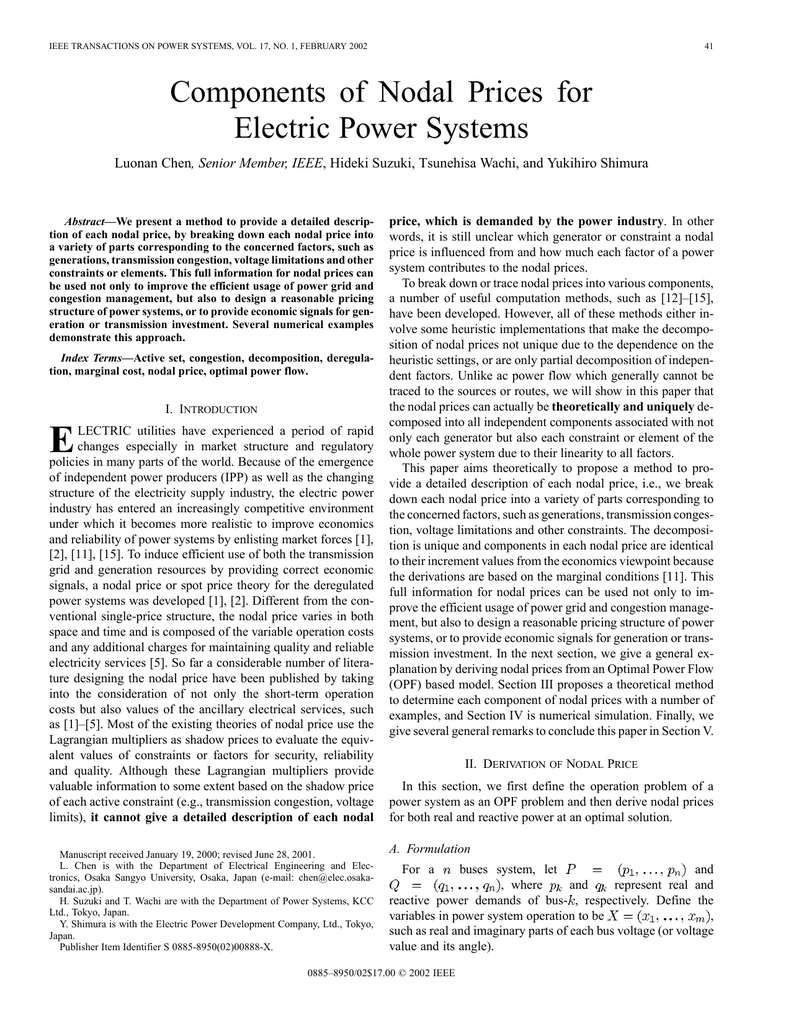 Components of nodal prices for electric power systems