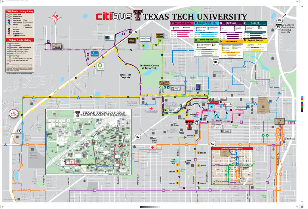 Map Of Texas Tech.2015 2016 Texas Tech Campus Route Map
