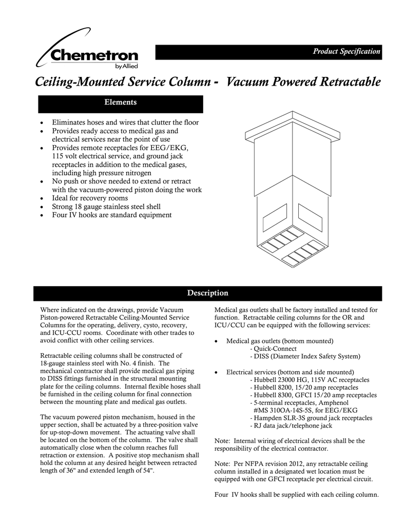 Ceiling Mounted Service Column Retractable Wiring