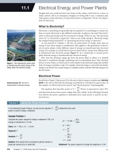 11.1 electrical energy and power plants
