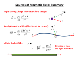 Sources of Magnetic Field: Summary