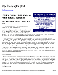 Curing spring-time allergies with natural remedies