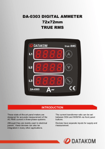 DA-0303 DIGITAL AMMETER 72x72mm TRUE RMS