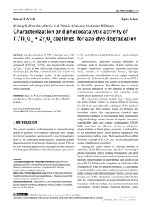 Characterization and photocatalytic activity of Ti/Ti O ∙ Zr O coatings