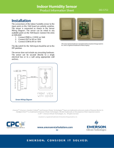 Indoor Humidity Sensor - Emerson Climate Technologies