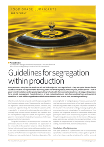 Guidelines for Segregation within Production