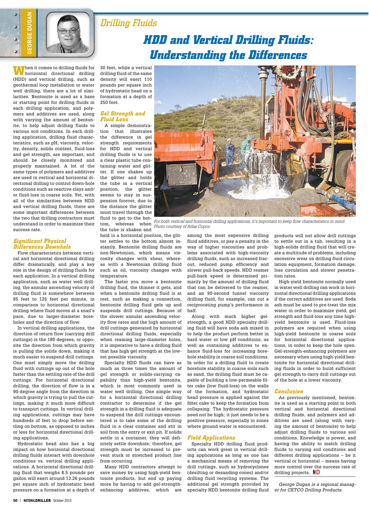 HDD and Vertical Drilling Fluids